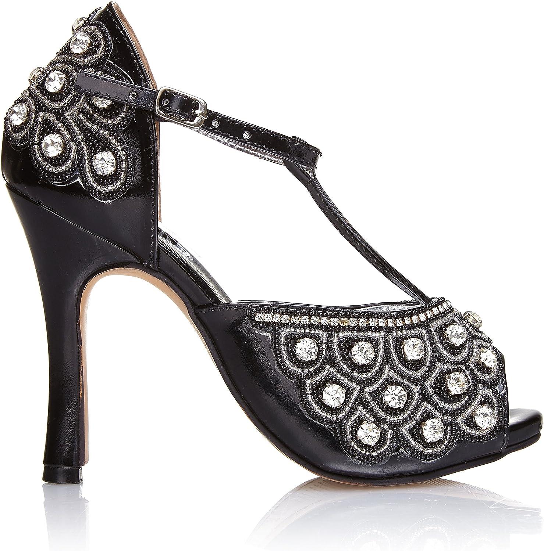 Gatsbylady london women Vintage Inspired T-Strap Heels in Black Silver