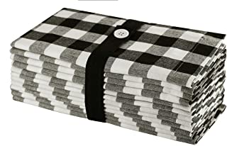 Cotton Craft 12 Pack Gingham Checks Oversized Dinner Napkins - Black - Size 20x20-100% Cotton - Tailored with Mitered Corners and a Generous Hem - Easy Care Machine wash
