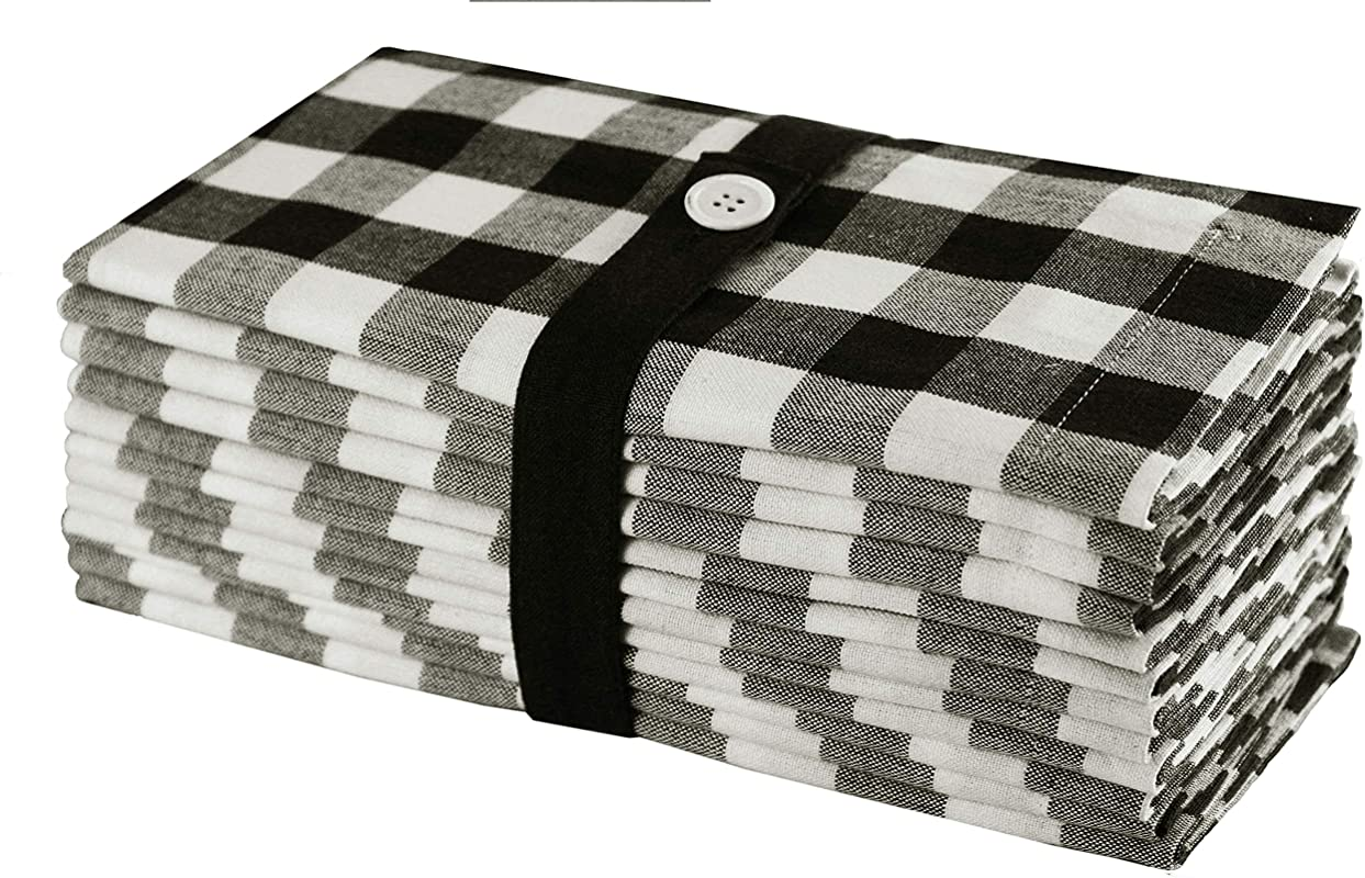 Cotton Craft 12 Pack Gingham Checks Oversized Dinner Napkins Black Size 20x20 100 Cotton Tailored With Mitered Corners And A Generous Hem Easy Care Machine Wash