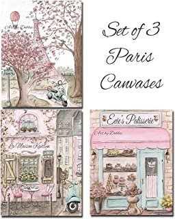 Set Of 3 Paris Themed Canvases, Blush Pink Girls Room Vintage Wall Art French Bedroom, Personalized Girls Name, 8x10 to 24x36, Museum Wrapped 1.5