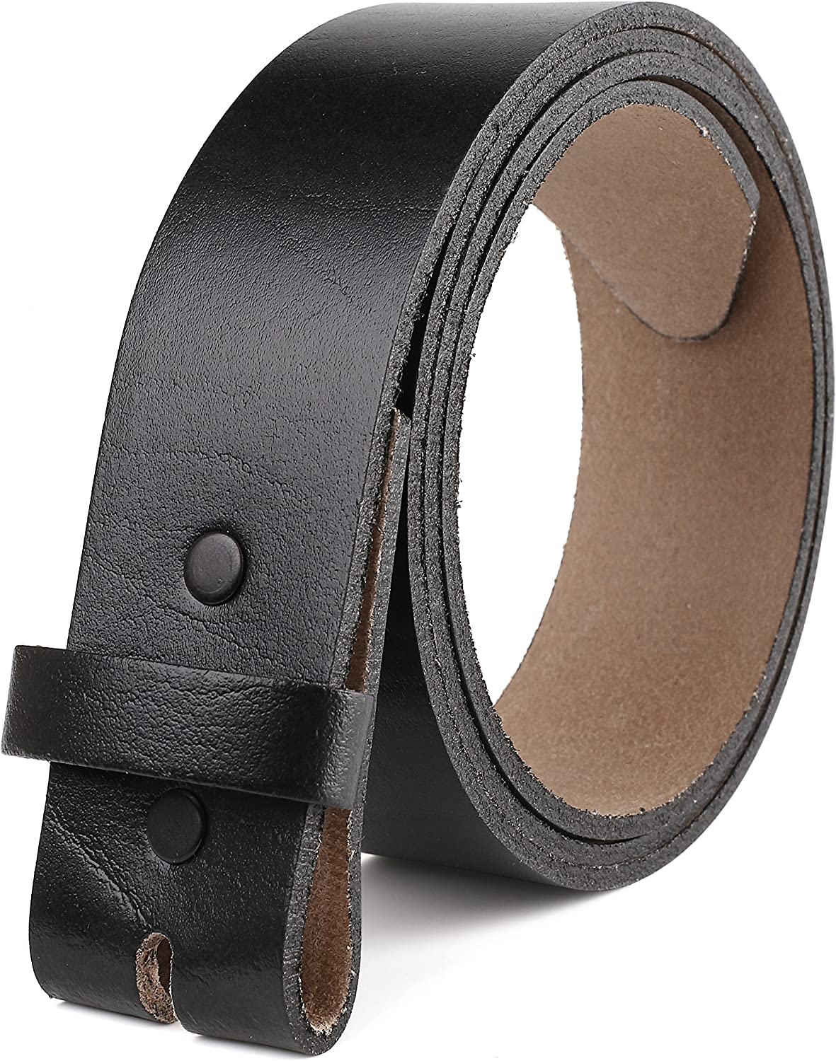Belt for buckle men Snap on Strap Full Grain One Piece Leather no buckle,1 1/2