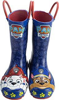 Paw Patrol Toddler Rainboots,Marshall and Chase Mismatch Rainboots with Handles,100% Rubber,Navy,Toddler Size 5 to Toddler Size 10