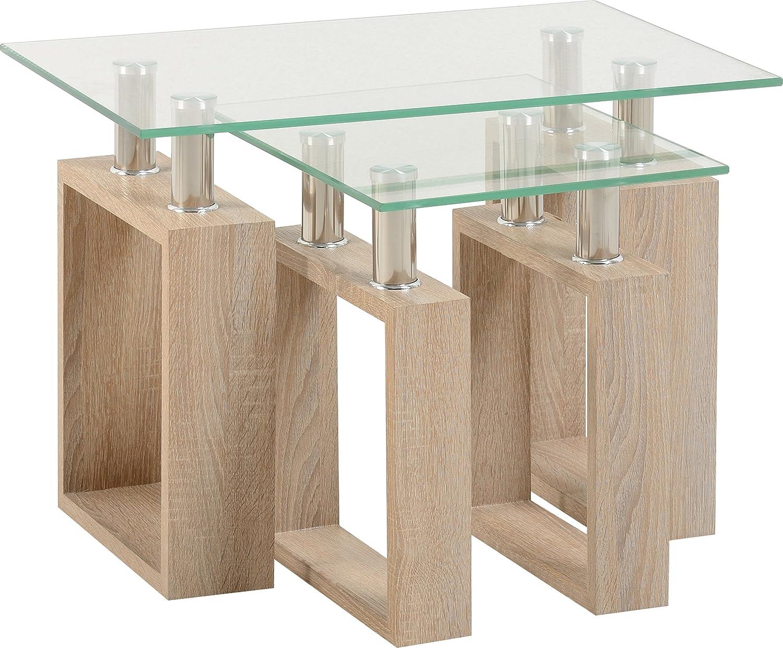 Milan Nest of Tables in Sonoma Oak Effect Veneer Clear Glass Silver