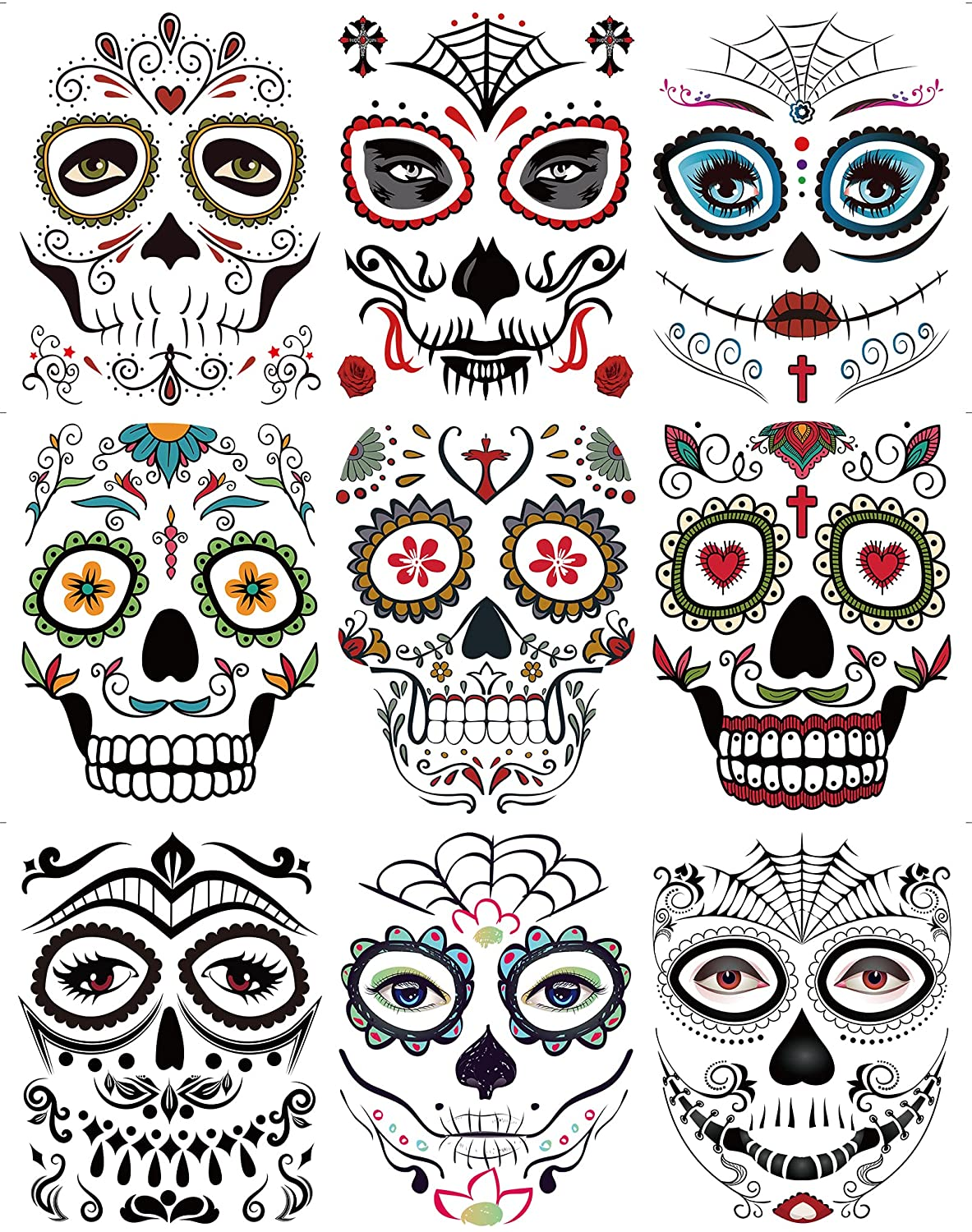Excellence DaLin 9 Sheets Floral Day of Temporary Face 5% OFF Dead Sugar Skull the