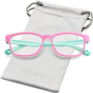 Kids Blue Light Blocking Glasses Silicone Flexible Square...