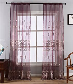 Aside Bside Sheer Curtain for Living Room European Pattern Embroidery Lace Window Voile Drape Rod Pocket Panel for Bedroom(1 Panel, W 50 x L 84 inch, Purple)