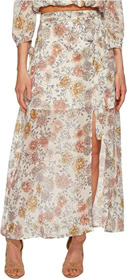 J.O.A. Printed Maxi Skirt with High Side Slit