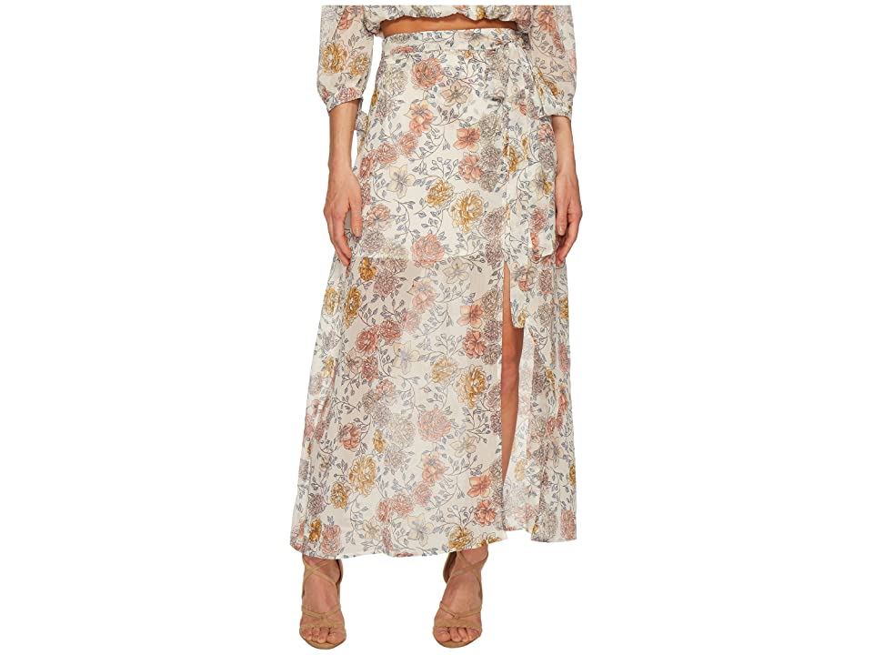 J.O.A. Printed Maxi Skirt with High Side Slit (Ivory Floral) Women