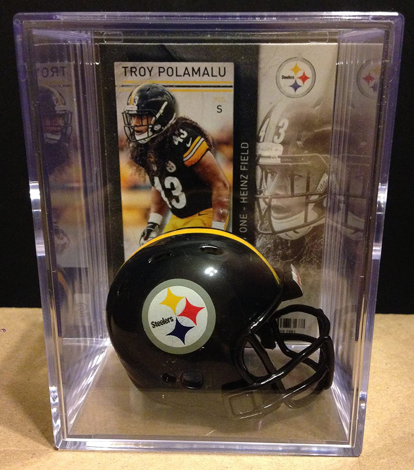 Pittsburgh Steelers NFL Helmet Manufacturer OFFicial shop Shadowbox Polamalu In stock Troy w card