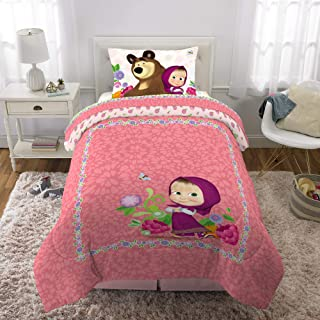 Franco Kids Bedding Super Soft Microfiber Comforter and Sheet Set, 4 Piece Twin Size, Masha and The Bear