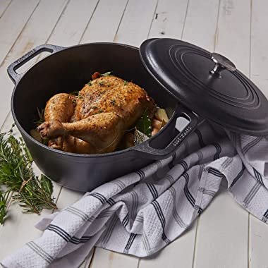 Victoria Cast Iron Large Dutch Oven with Lid and Dual Handles. 7 Quart Pot Seasoned with 100% Kosher Certified Non-GMO Flaxse
