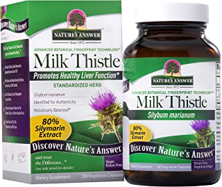 Nature's Answer Milk Thistle Silybum Marianum Maximum Strength 120 Capsules Silymarin Essential Natural Ingredients Suppor...