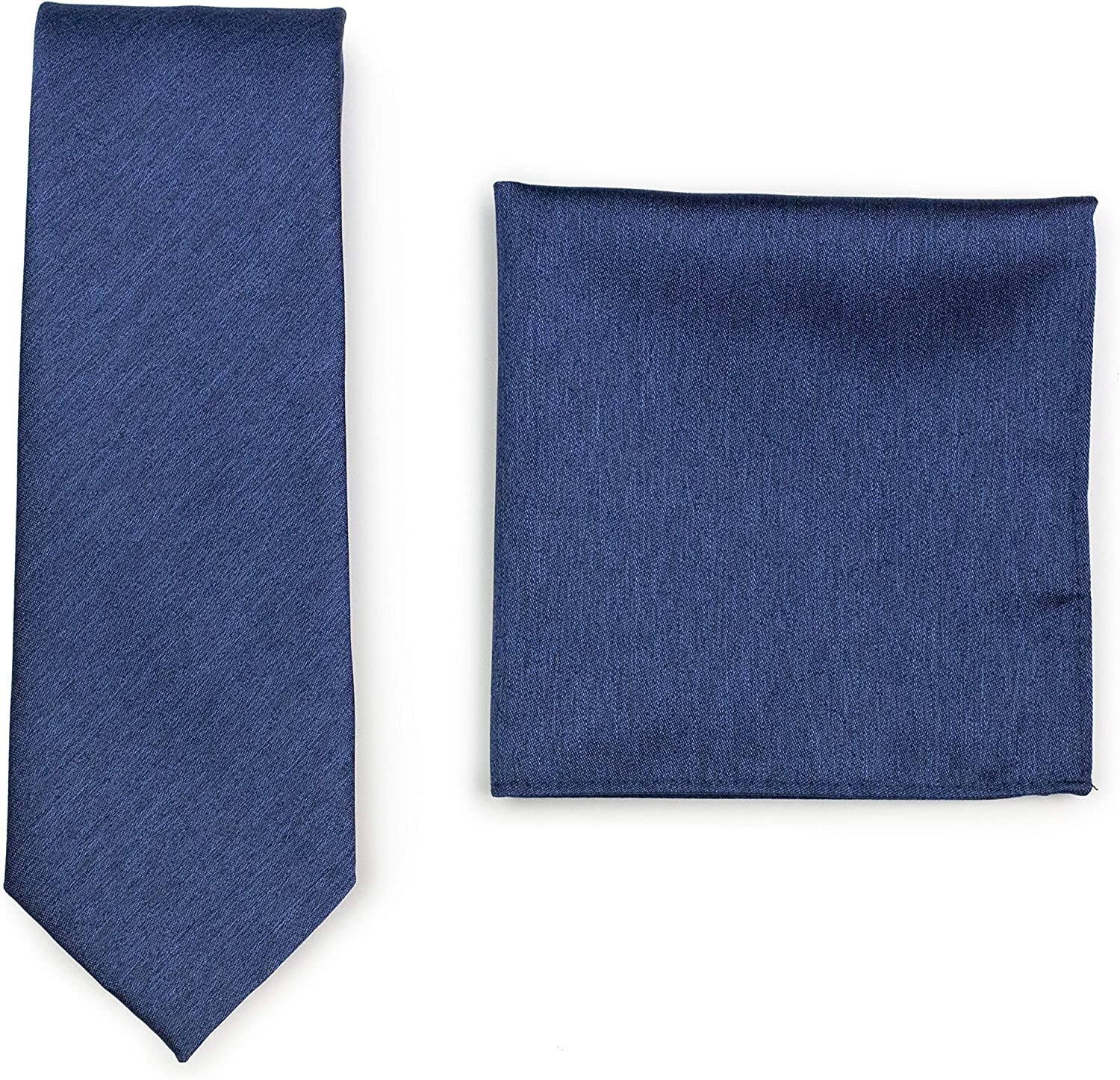 Bows-N-Ties Solid Color Tie + Hanky Set, Matte Woven Ties and Pocket Squares 2-piece set