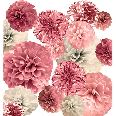 "20 PCS Pink Rose Gold Party Decoration - Tissue Paper Pom Poms - Birthday Party Decoration - Baby Shower - Bridal Shower - Rose Gold, Dusty Rose, Blush Pink, Grey - 14"", 10"", 8"", 6"""
