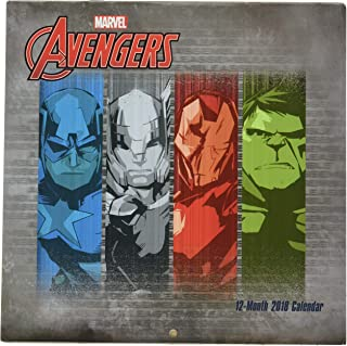 2018 Licensed Characters 12- Month Wall Calendars, 10x10 in. (Marvel Avengers)
