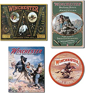 Bundle: Winchester Signs - Winchester Bullet Board, Winchester Hunter with Ram, Winchester Spooked Horse and Winchester Express Round