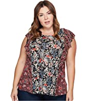 Lucky Brand - Plus Size Mixed Print Ruffle Top