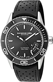 37187a7b2 Raymond Weil Men's 'Freelancer' Swiss Automatic Stainless Steel and Rubber  Casual Watch, Color