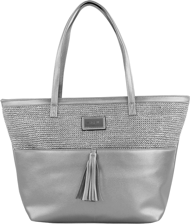 blueebags FORTIME  Bolso Fashion Hizb Plateado, Women's Shoulder Bag, Silver (silver)