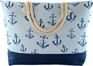 Zisla Große Strandtasche mit Reißverschluss aus Segeltuch für Sommer oder Reisen. Einkaufstasche, lustige Tragetasche perfekt für Strand oder Pool. Maßnahmen: 54x37x13cm