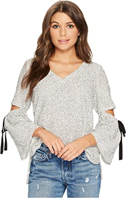 1.STATE - Long Sleeve V-Neck Slit Sleeve Top with Ties
