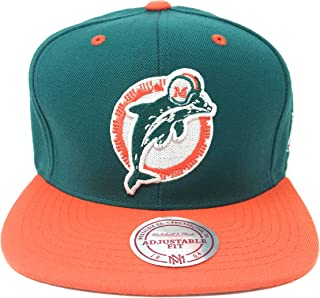 Mitchell And Ness Sta3 Retro Miami Dolphins Snapback Hat Teal. Size: