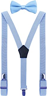 Boys' Mens' Suspenders and Bow Tie Set Adjustable Y Shape Leather