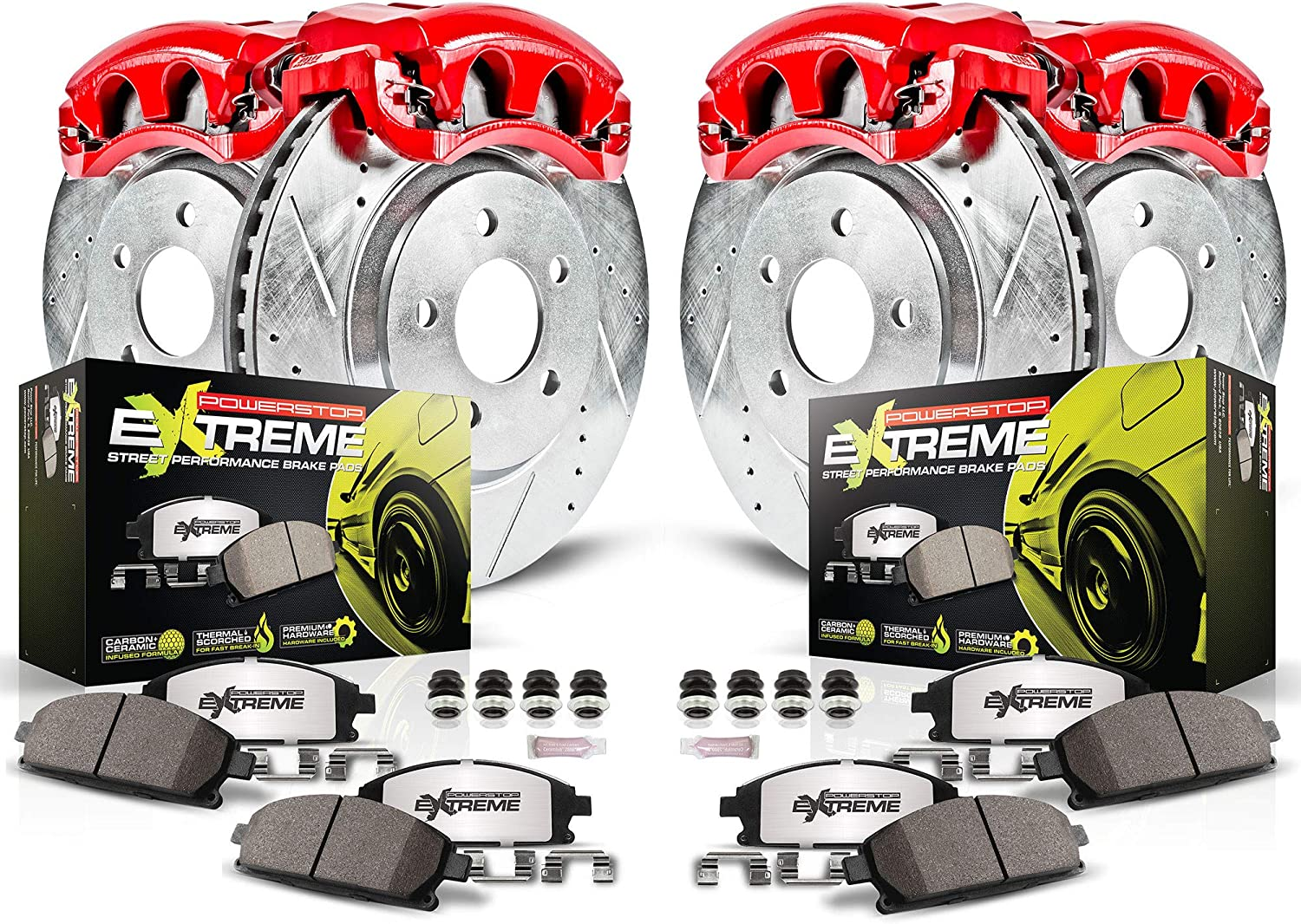 Power Stop KC889-26 Z26 2021new shipping free shipping Front Caliper Rear Topics on TV and Carbo Kit-Rotors