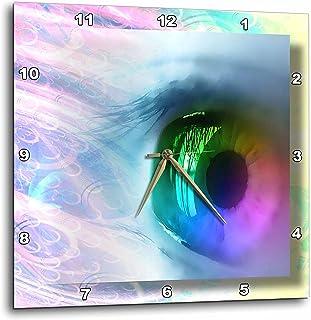3dRose dpp_24177_1 Rainbow Eye Wall Clock, 10 by 10-Inch