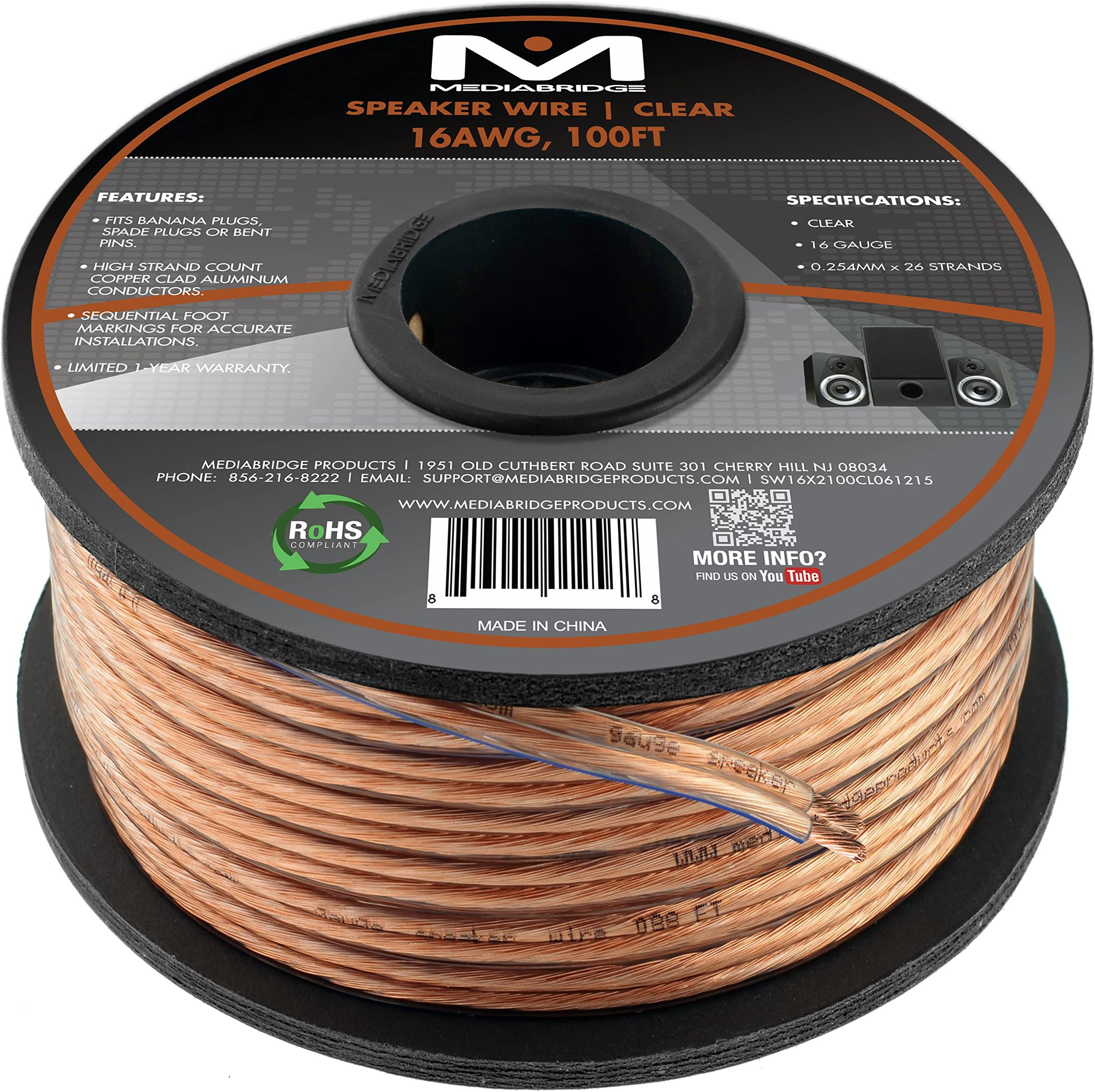 Amazon.com: Mediabridge 16AWG 2-Conductor Speaker Wire (100 Feet, Clear) -  Spooled Design with Sequential Foot Markings (Part# SW-16X2-100-CL):  ElectronicsAmazon.com