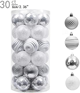 Valery Madelyn 30ct 60mm Frozen Winter Silver White Shatterproof Christmas Ball Ornaments Decoration,Themed with Tree Skirt(Not Included)