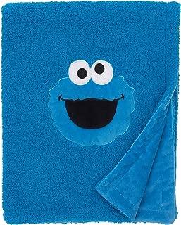 Sesame Street Cookie Monster Blue Soft Plush Sherpa Toddler Blanket with Applique, Blue, White, Black