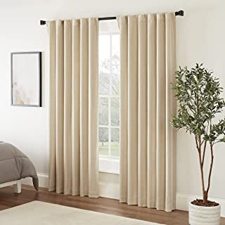 """ECLIPSE Fresno Thermal Insulated Single Panel-Rod Pocket Darkening Curtains for Living Room, 52"""" x 95"""", Wheat"""