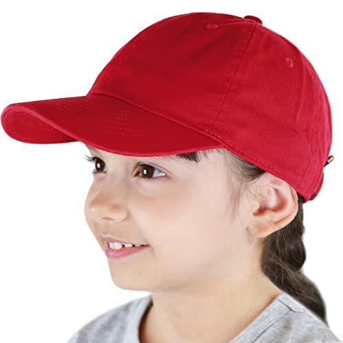 9d70f30606b58 THE HAT DEPOT Kids Washed Low Profile Cotton and Denim Plain Baseball Cap  Hat