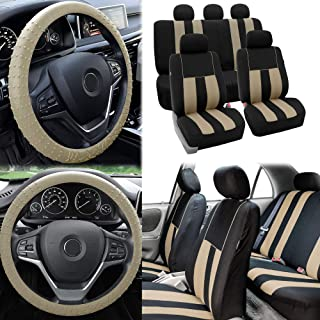 FH Group FB036115 Striking Striped Seat Covers (Beige) Full Set with Gift – Universal Fit for Cars Trucks & SUVs