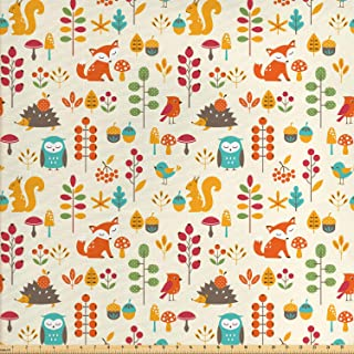 Ambesonne Children Fabric by The Yard, Kids Autumn Pattern with Owl Fox Squirrel Birds Animal Leaves Print, Decorative Fab...