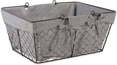 DII Chicken Wire Baskets for Storage Removable Fabric Liner, Egg, Stripes