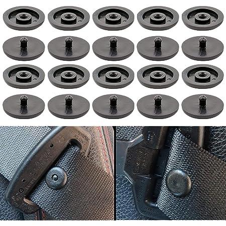 """Bottoni Cintura di Sicurezza Auto, Set di 10, Bottone Pressione, Compatibile con Cinture Spessore 1,2 mm/0,47"""", Evita lo Scivolamento della Cintura, Bottoni in Plastica per Auto, Set da 10, Nero"""