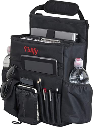 Tidify Car Front Seat Organizer with Dedicated Tablet and Laptop Storage Stabilizing Side Straps Soft Adjustable Shou...