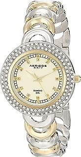 Akribos XXIV Women's AK804TTG Diamond and Crystal-Accented Metal Watch with Two-Tone Bracelet