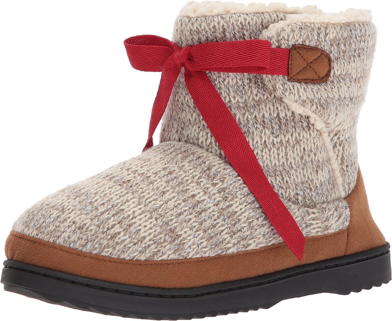 Dearfoams Women's Marled Knit Tie-Front Boot