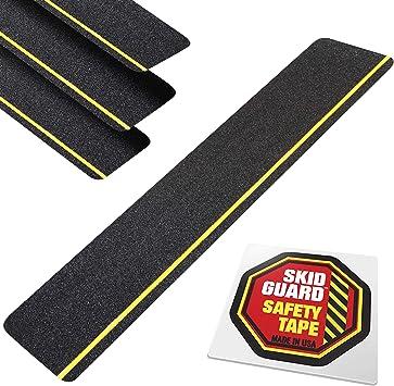 户外楼梯踏板防滑 15.24 厘米 x 60.96 厘米(4 件装) 防滑带 防滑带 适用于台阶、坡道、甲板等 - 美国制造 - 0.64 厘米黄色反光条纹 4 个预裁楼梯踏板条