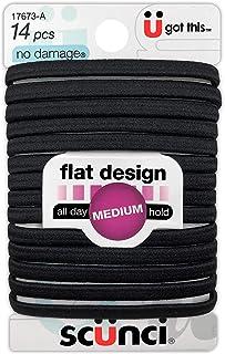 Scunci No-Damage Black Hair Ties, Flat Design All Day Medium Hold, 14-Pcs per Pack (1-Pack)