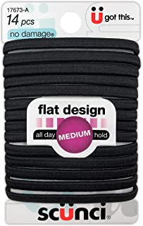 Scunci No-Damage Black Hair Ties | Flat Design All Day Hold 14-Pcs per Pack (1-Pack)