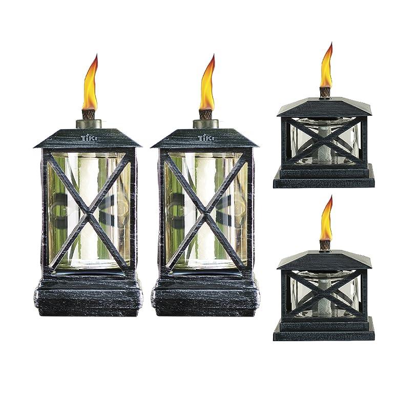 TIKI? Brand 65-Inch Square Beacon Metal Torch Black 2-pack and Petite Lantern Metal Table Torch Black 2-pack