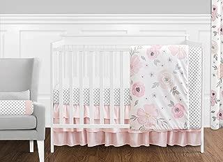 Sweet Jojo Designs 11-Piece Blush Pink, Grey and White Watercolor Floral Baby Girl Crib Bedding Set Without Bumper Rose Flower Polka Dot