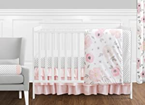 11 pc. Blush Pink, Grey and White Watercolor Floral Baby Girl Crib Bedding Set by Sweet Jojo Designs - Rose Flower Polka Dot