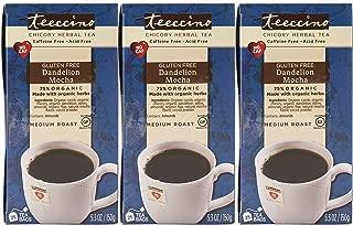 Teeccino Dandelion Mocha Chicory Herbal Tea Bags, Gluten Free, Caffeine Free, Acid Free, 25 Count (Pack of 3)