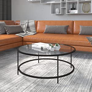 Flash Furniture Living Room Coffee Table, Clear/Matte Black