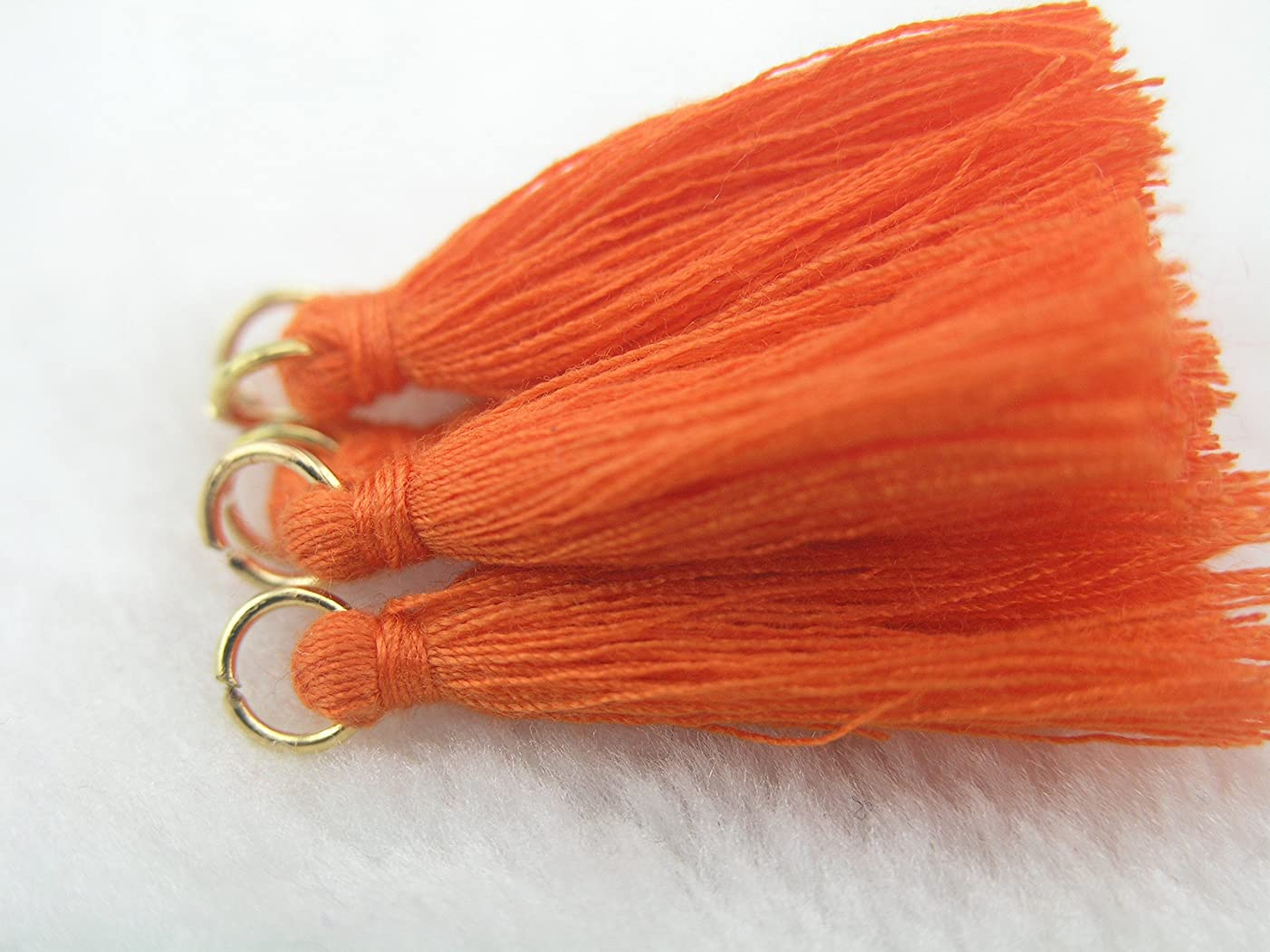 50pcs Orange Silky Handmade Tiny(1.4'') Soft Tassels, Mini Tassels, Earring Tassels with Golden Jump Ring